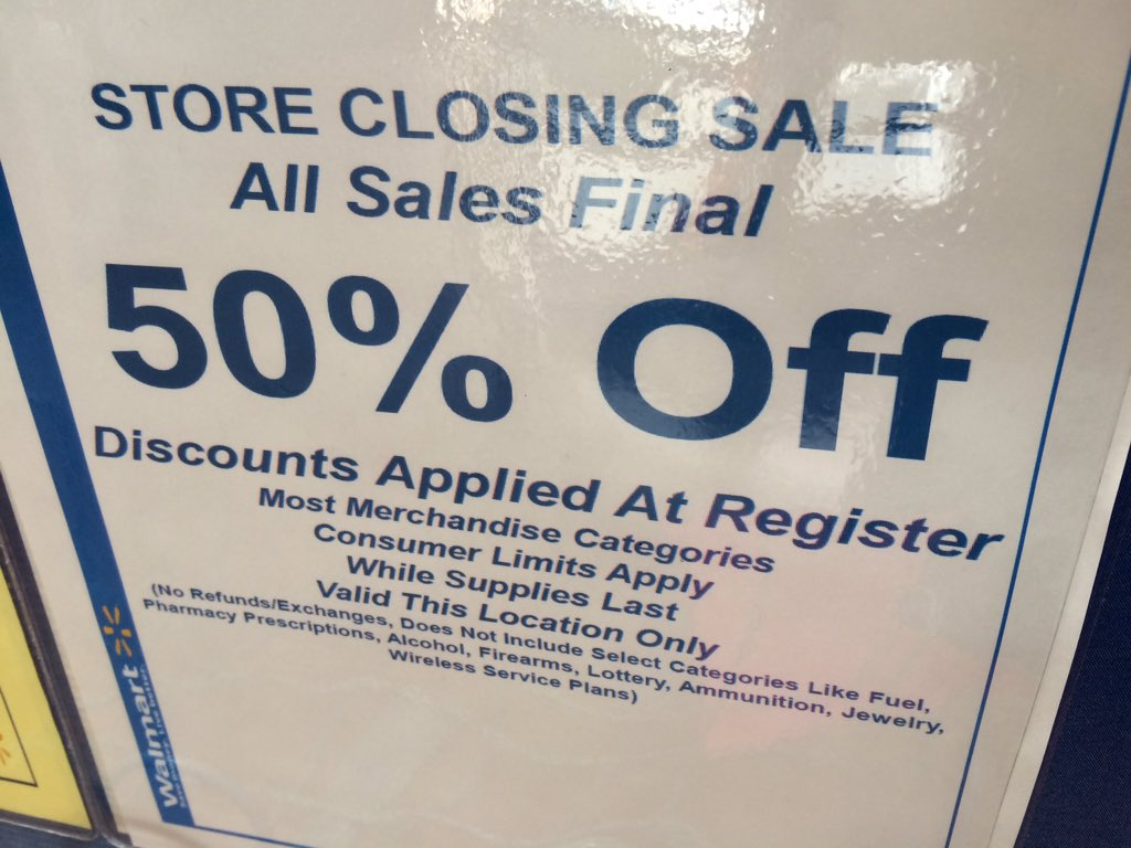 walmart on mlk in durham is closing so its sale time