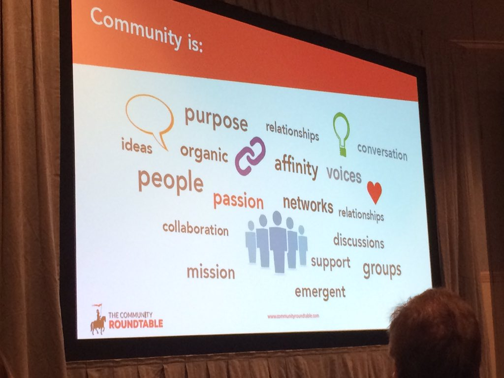 Love this slide showing what community is from @rhappe of @TheCR #socialmediaorg https://t.co/myZOwBbQRK
