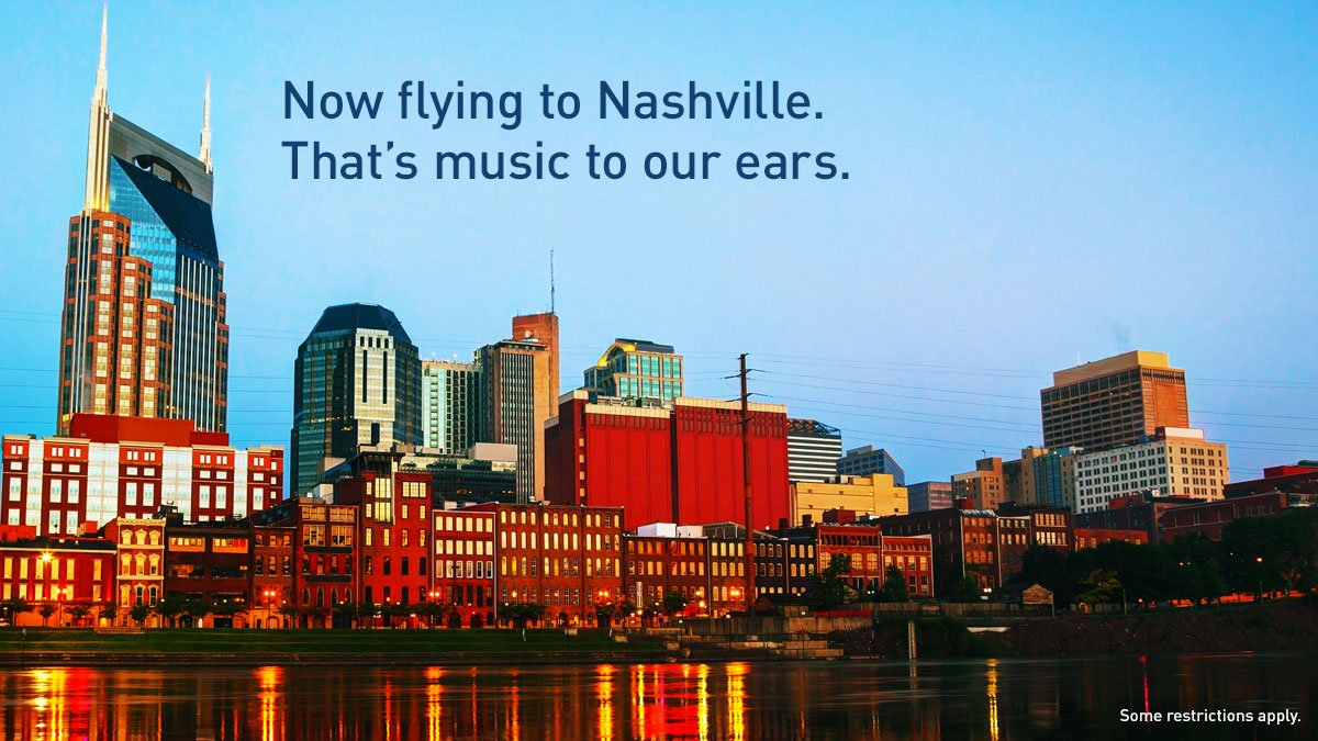 We're pleased to announce our 101st destination, @Fly_Nashville. Details: