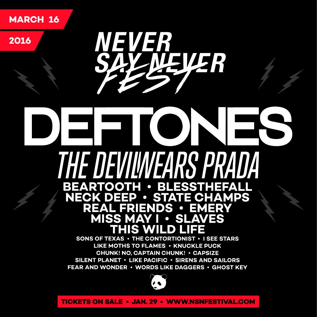 DEFTONES headlines @nsnfestival! Tickets on sale this Friday 10AM! https://t.co/cq4vshL2eZ @deftones https://t.co/WhKvndZc8v