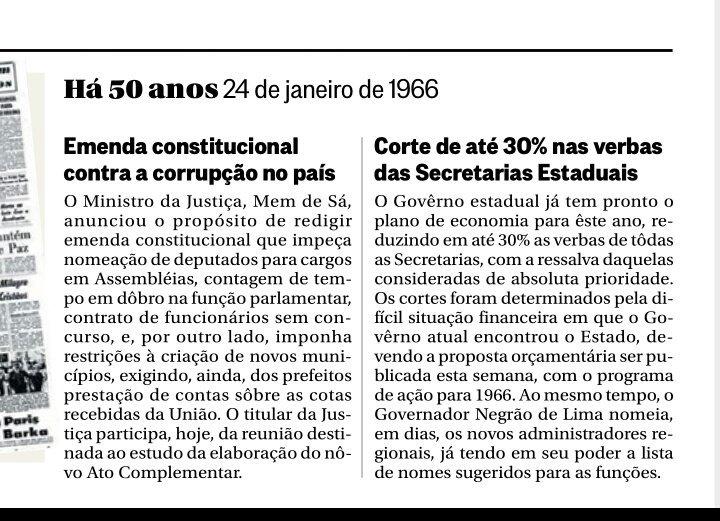 Corrupção? Secretarias estaduais sem verbas? Seus problemas acabaram... Há 50 Anos! No Globo de hoje https://t.co/ENCXvrYYzO