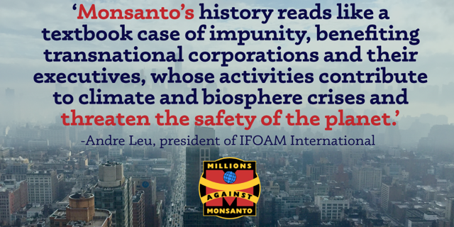 Monsanto to be held accountable for crimes against nature & humanity on World Food Day 2016! https://t.co/1NRrm7kRqw https://t.co/kZwNsdwIar
