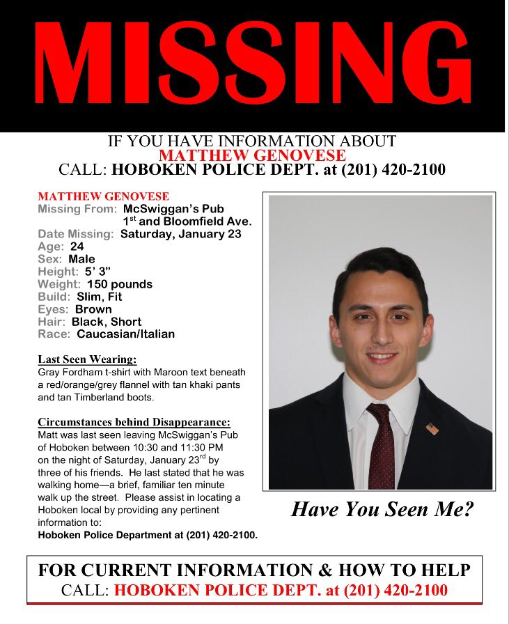 Help us find Matthew. Please call @HobokenPD at 201-420-2100 with any information. https://t.co/0AzK6A0xy0