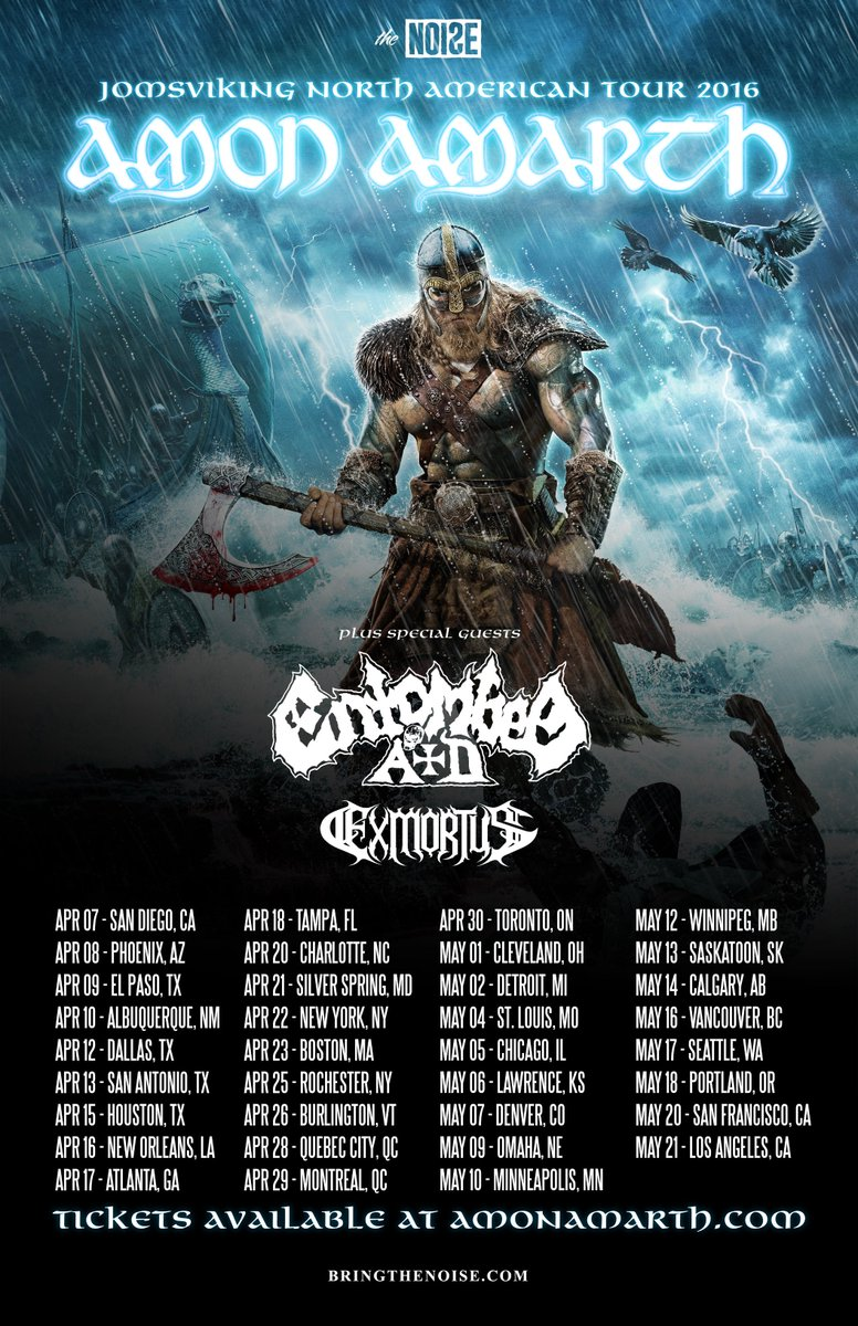AMON AMARTH Announces North American Spring Headlining Tour https://t.co/XmWrCZMX3X @MetalBlade @AmonAmarthBand https://t.co/pF29RTJX4S