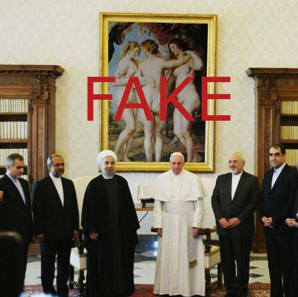 Fact check: Pope Francis and Iranian President Rouhani did not take a photo in front of a nude painting. https://t.co/s0A9xe0Oki