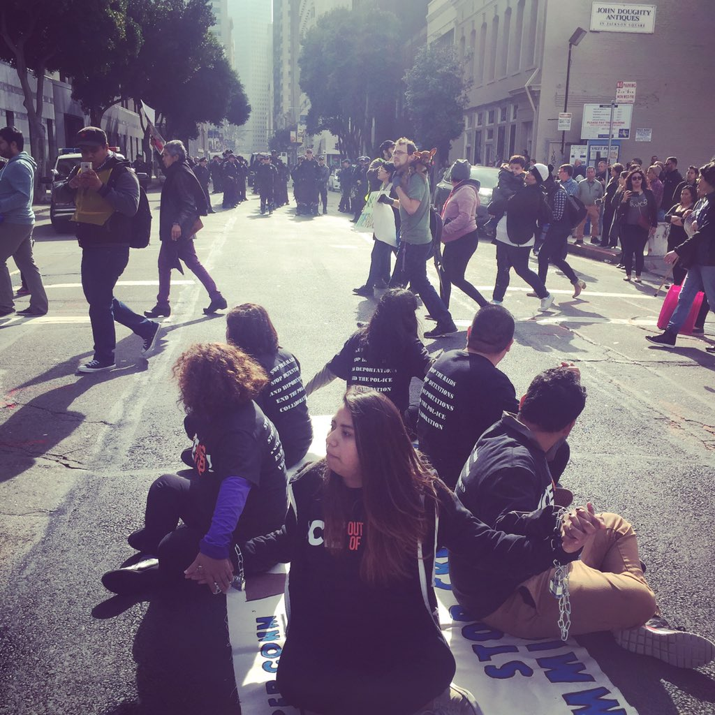 14 arrested blocking intersections San Francisco #ICE @CIYJA #ICEoutOfSF #StopTheRaids #Relief4Refugees #Not1More https://t.co/LS0Y5JbK5e