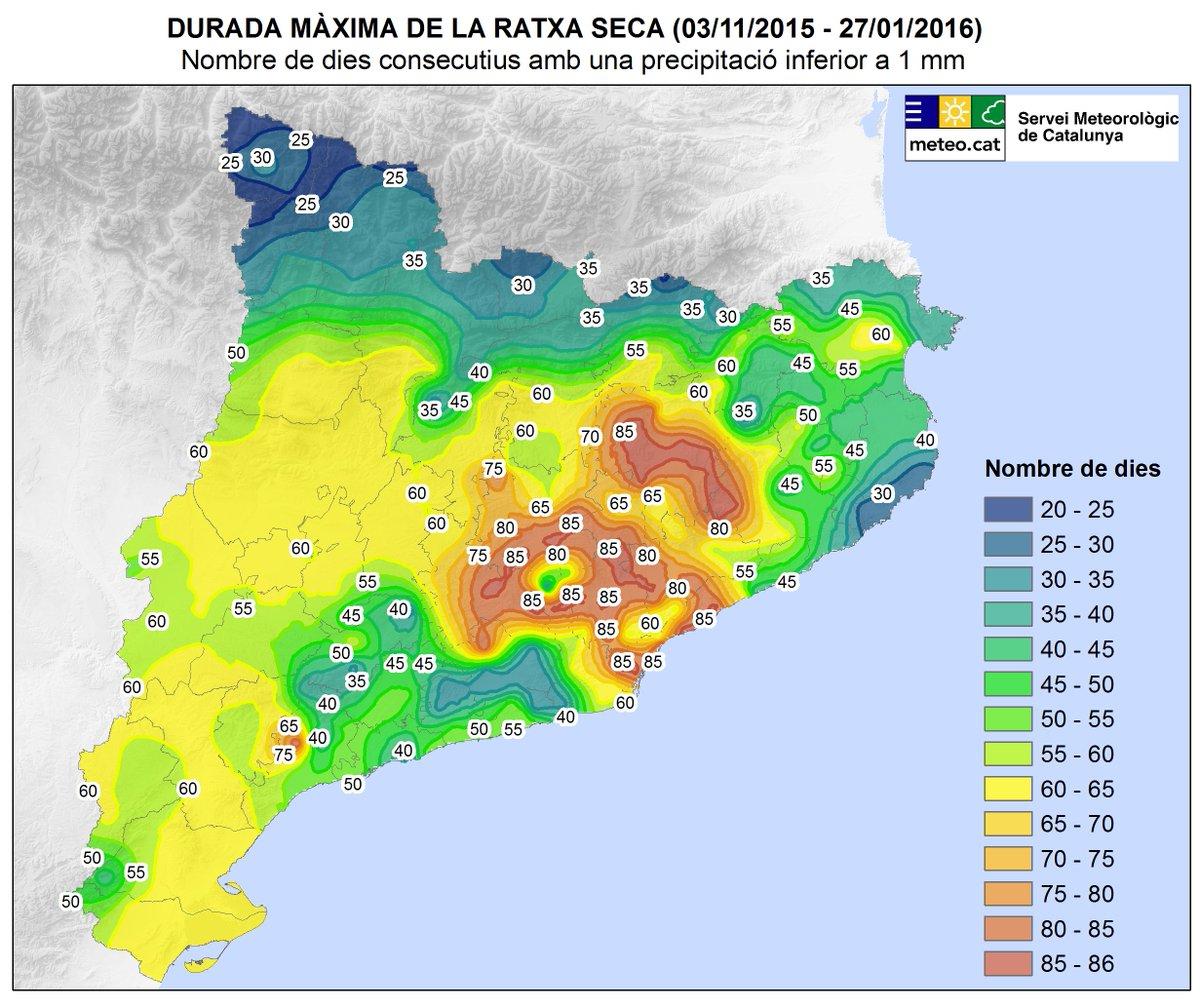 Durada màxima de la ratxa seca a Catalunya  (dies consecutius amb precipitació <1 mm des del 03/11/2015) #meteocat https://t.co/WAONO5bkKk