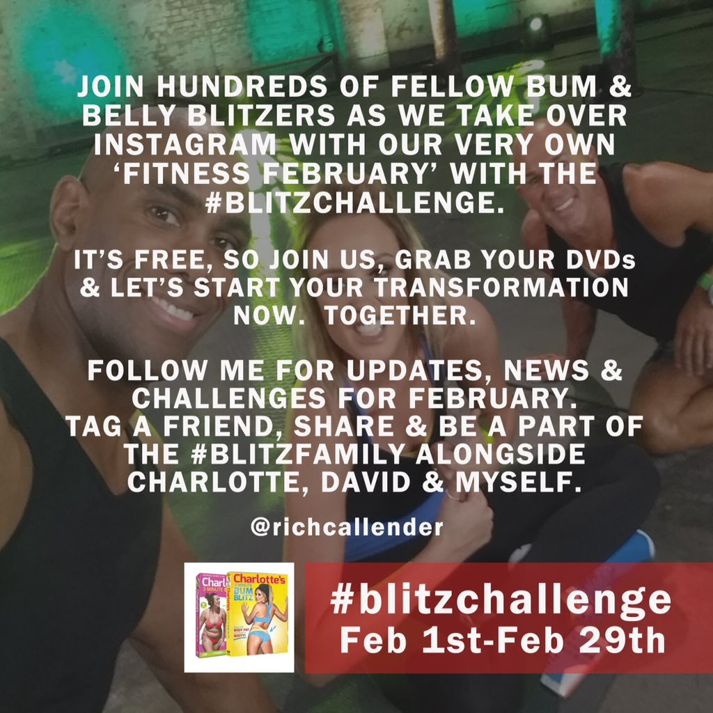 Join @richcallender @Charlottegshore @MyFitness01 as we #blitz ya body this #fitnessfebruary  Who's in!? https://t.co/sl1o7iaajX