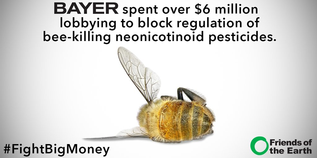 Bayer's spending big to lobby for its bee-killing products. Retweet to spread the word! #FightBigMoney https://t.co/GEFsrDrgcW