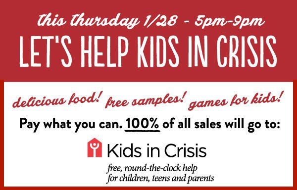 Donate to Kids In Crisis & dinner's on us tmrw night in Greenwich. Games, samples, & live music by @griffinanthony! https://t.co/IxLwsPTgD7