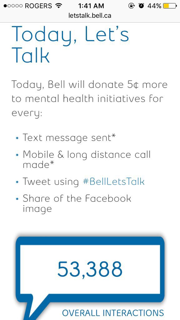 5 cents doesnt seem like much but raising awareness and potentially saving a life is worth it. Plz RT #BellLetsTalk https://t.co/kCznHvucfa