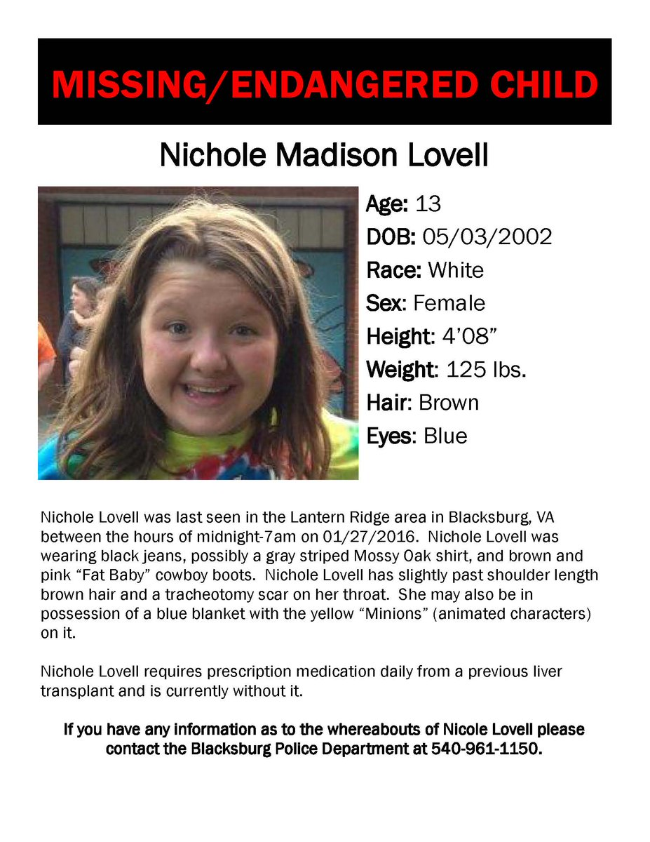 Missing/Endangered child - Nichole Madison Lovell https://t.co/pLgEORcc25
