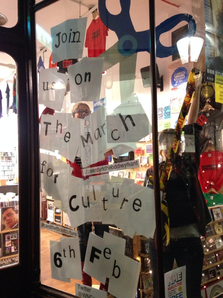 Honoured to give window space to this important cause. @WNCardiff Action required Cardiff! #cardiffwithoutculture https://t.co/fXCpIenYC5