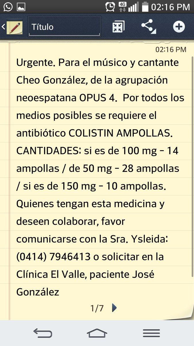 Urgente. Para el músico y cantante Cheo González, de la agrupación neoespartana OPUS 4.... Favor hacer RT https://t.co/pkF1SFW00r