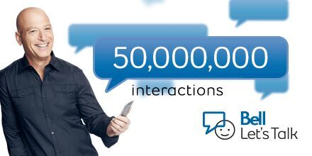 Wow! RT @Bell_LetsTalk: Just over 50 million texts, tweets, calls & shares so far! Keep it up! #BellLetsTalk https://t.co/6m6DJ4fq8R