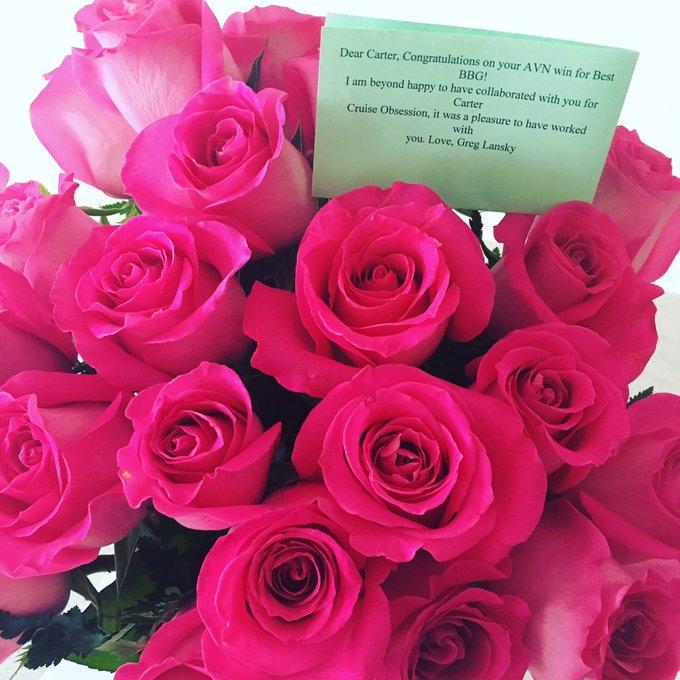 omg @GregLansky ILY ????? @Blacked_com #AVNawards2016 I fucking love flowers more than anything ? https://t
