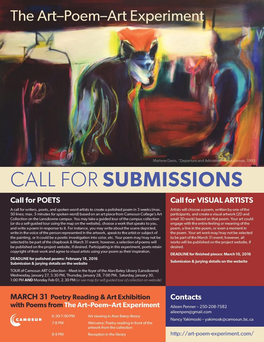 Call for submissions (poets and artists). Intriguing Art-Poetry-Art project Visual Artst at @Camosun. #yyj #yyjarts https://t.co/JmDOCRmQIQ