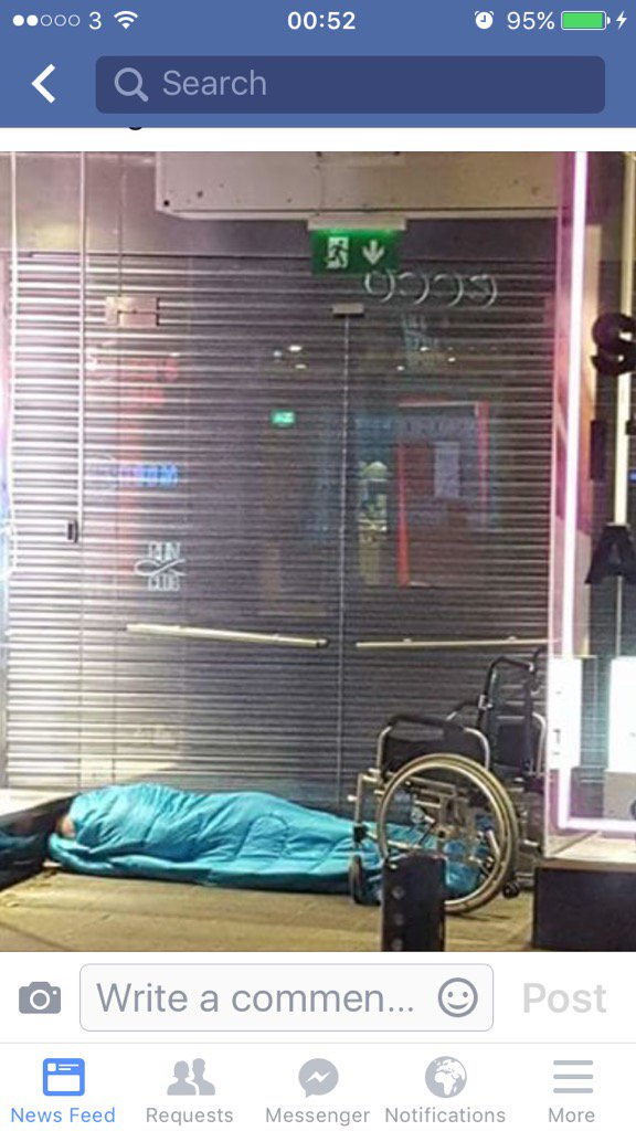The sad image of a #homeless man sleeping beside his wheelchair on Grafton St #Dublin tonight. Shocking @ICHHDUBLIN https://t.co/Fkhjkm19A2