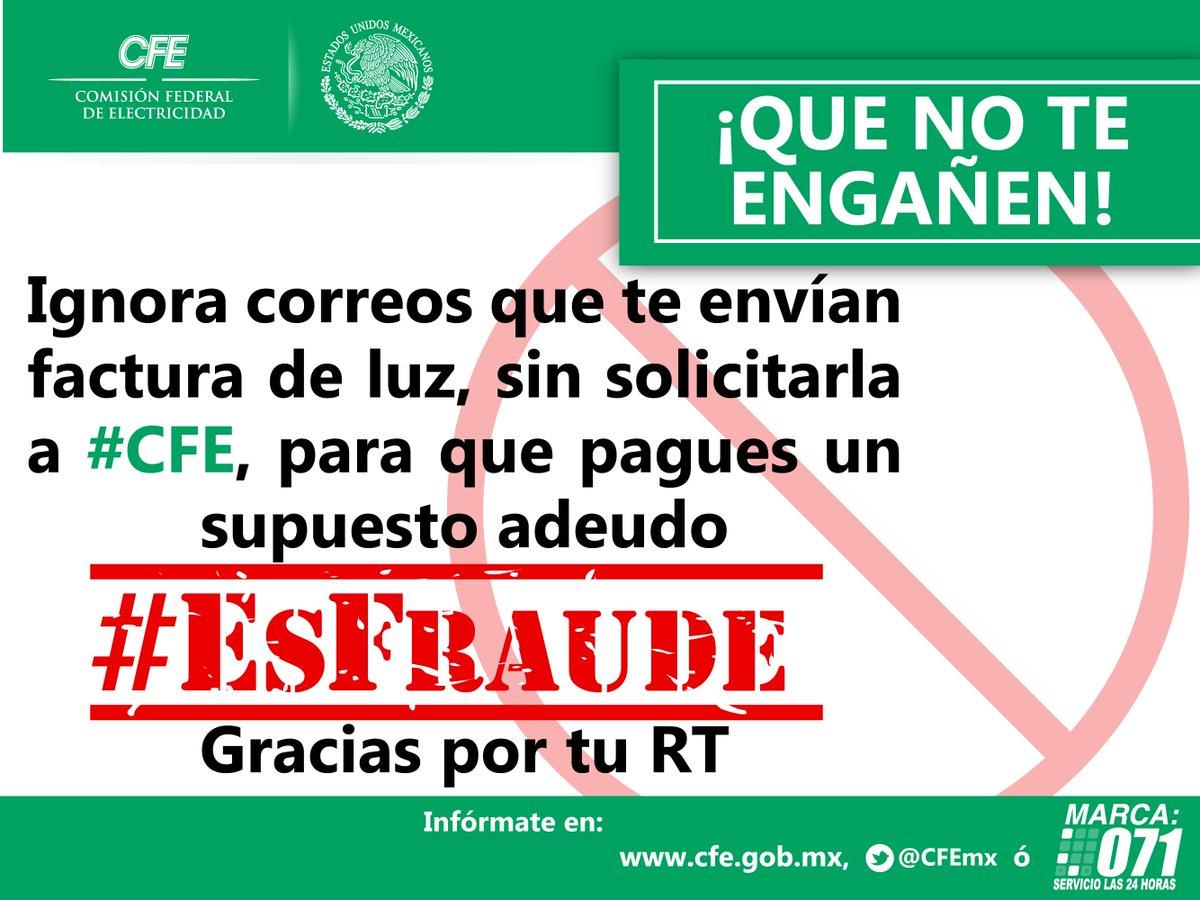 ALERTA! si recibes tu recibo de luz por mail sin solicitarlo a #CFE ignóralo porque #EsFraude. Ayúdanos con tu RT https://t.co/7lZYEE9qAS