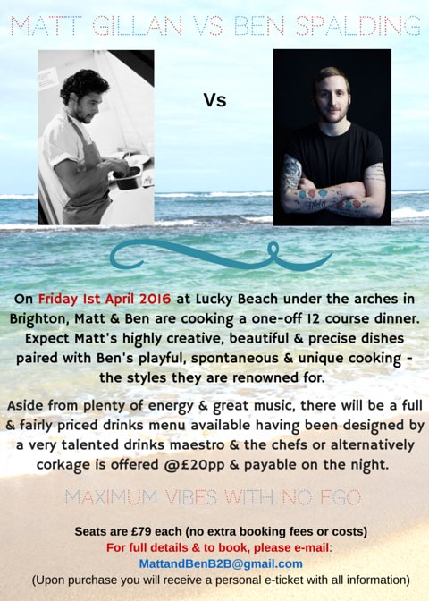 Huge response to this already, thank you.   On Friday April 1st @MattGillan & me do food battle @LuckyBrighton ! https://t.co/fh8gaccXc1
