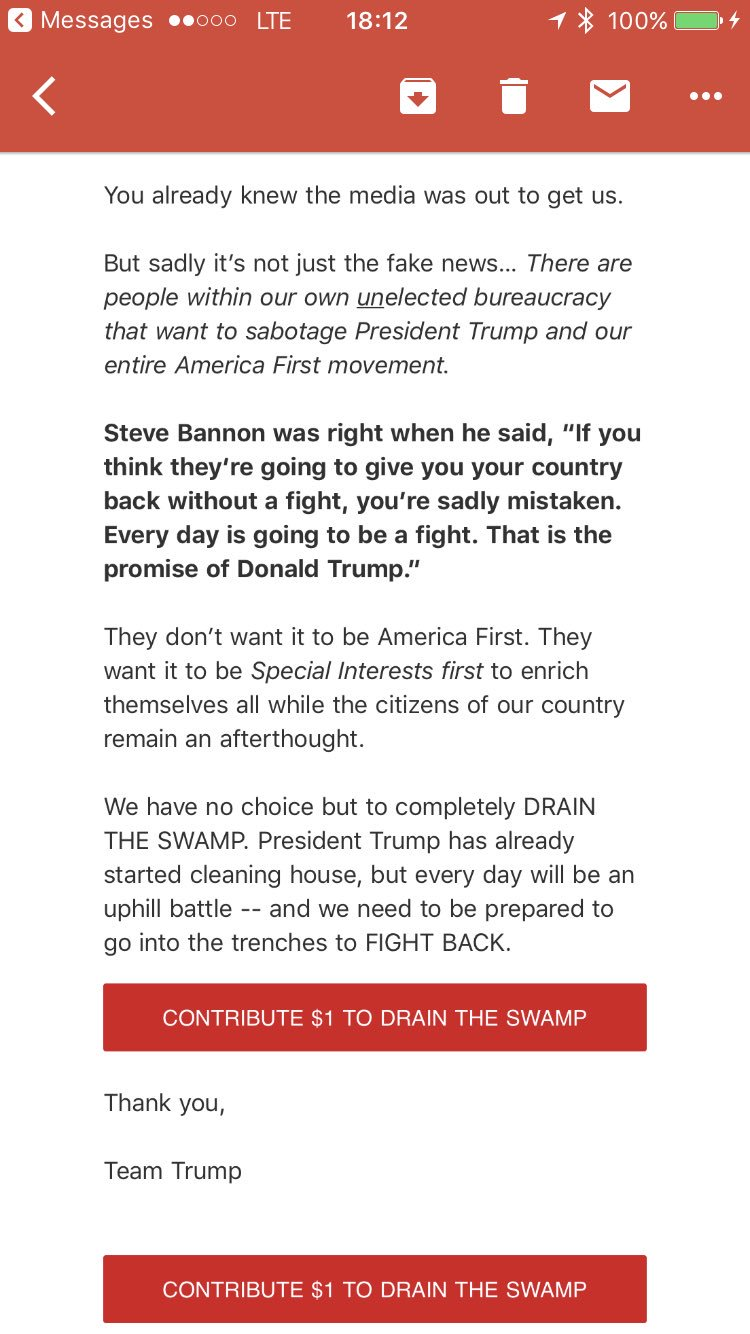 WOW. Just out from Trump campaign subject lined 'SABOTAGE' https://t.co/w7xy0L47oF