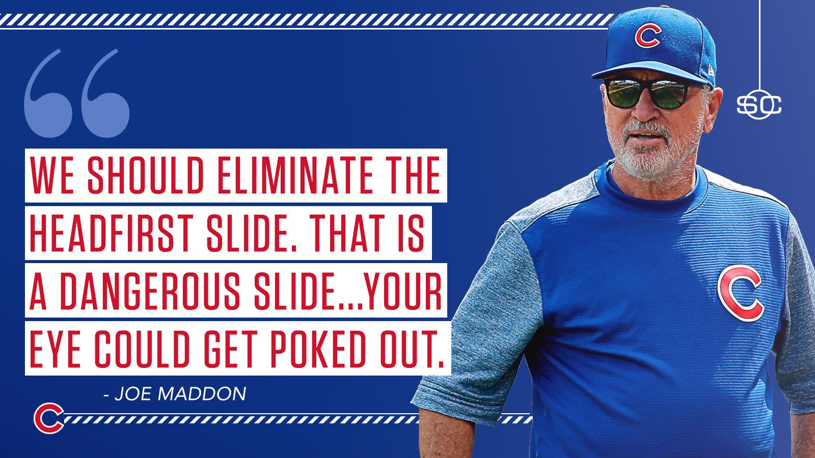 A sarcastic Joe Maddon has 'ideas' for safer slide rules.  More: https://t.co/MVHu8TRKZ2 https://t.co/81YPnxZgXk