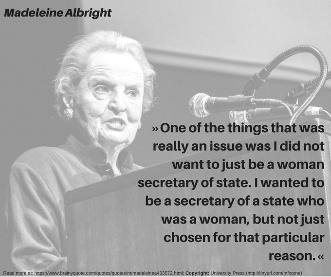 Happy 80th Birthday to Albright, former U.S. Secretary of State and first female to hold this position.
