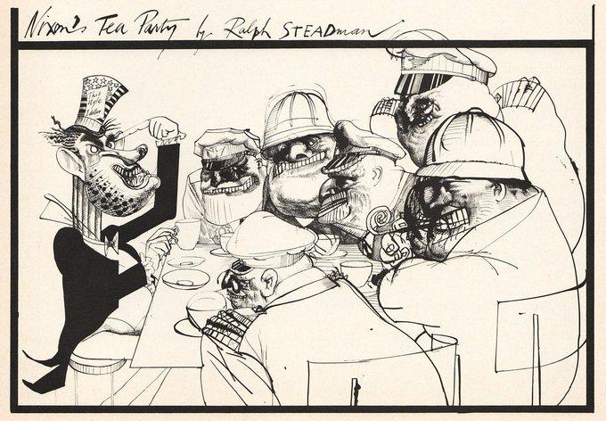 Happy birthday to the brilliant Ralph Steadman - Nixon\s Tea Party