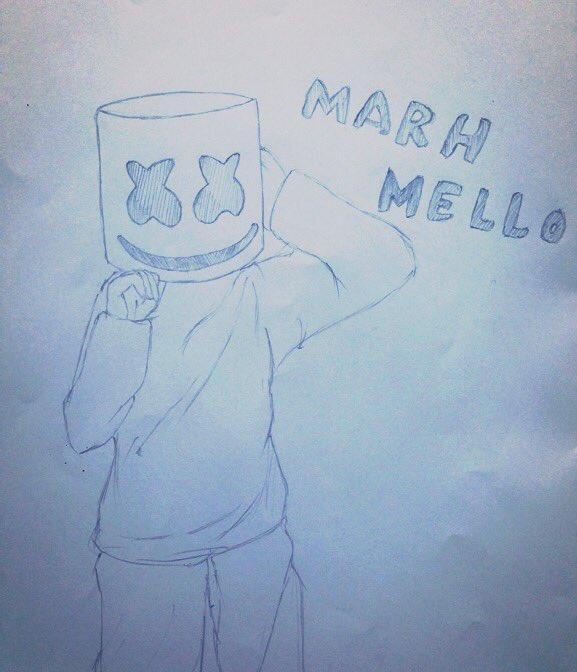 というわけでたまには真面目にイラスト描いてみようと思いました_((( _'ω')_ #Marshmello https://t.co/LJM3eUxdcc