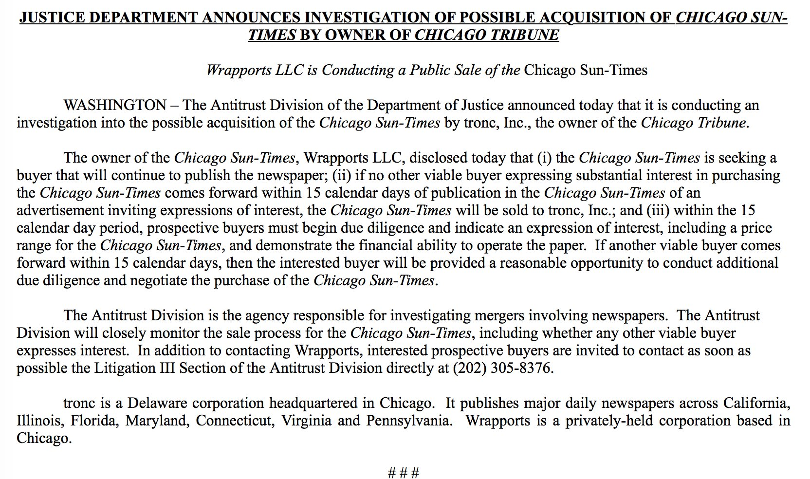 Inbox: DOJ investigating possible tronc purchase of the Chicago Sun-Times https://t.co/vwDYj9aTvD
