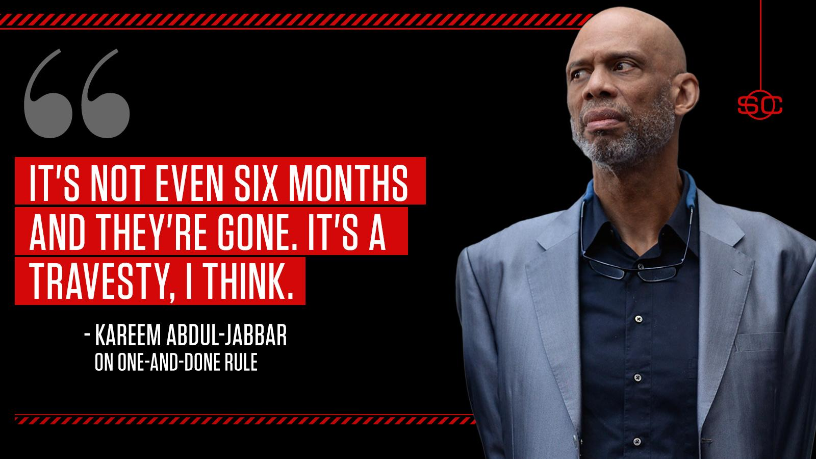 Kareem Abdul-Jabbar believes the one-and-done rule comes between players and a college education. https://t.co/4Wh3rptB2p