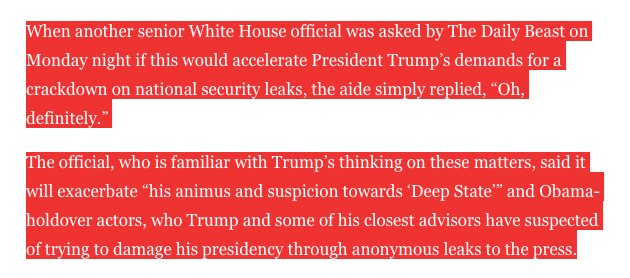 White House's plan: crack down harder on Trump admin leakers. https://t.co/2I3YQlmd13 https://t.co/NmN4XtbCzu