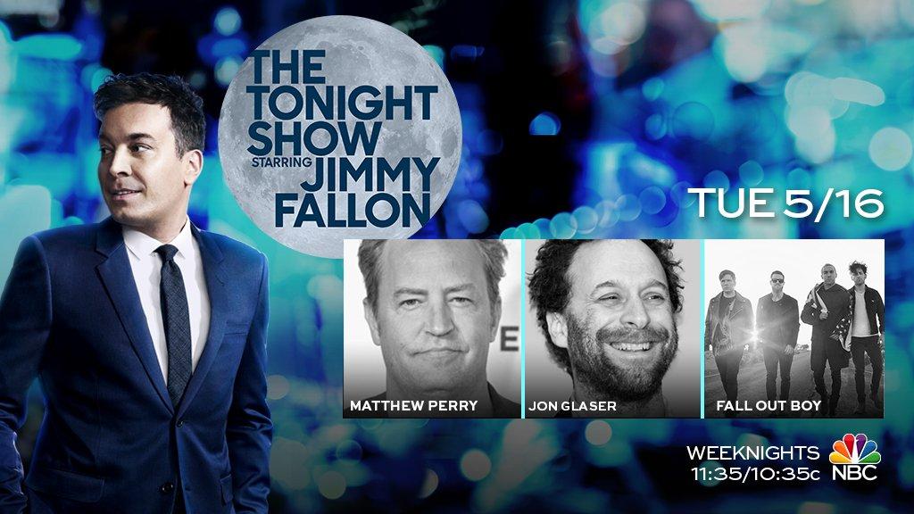 RT @FallonTonight: Tonight on the show: @MatthewPerry, Jon Glaser, and music from @falloutboy! #FallonTonight https://t.co/SlajQxjluF