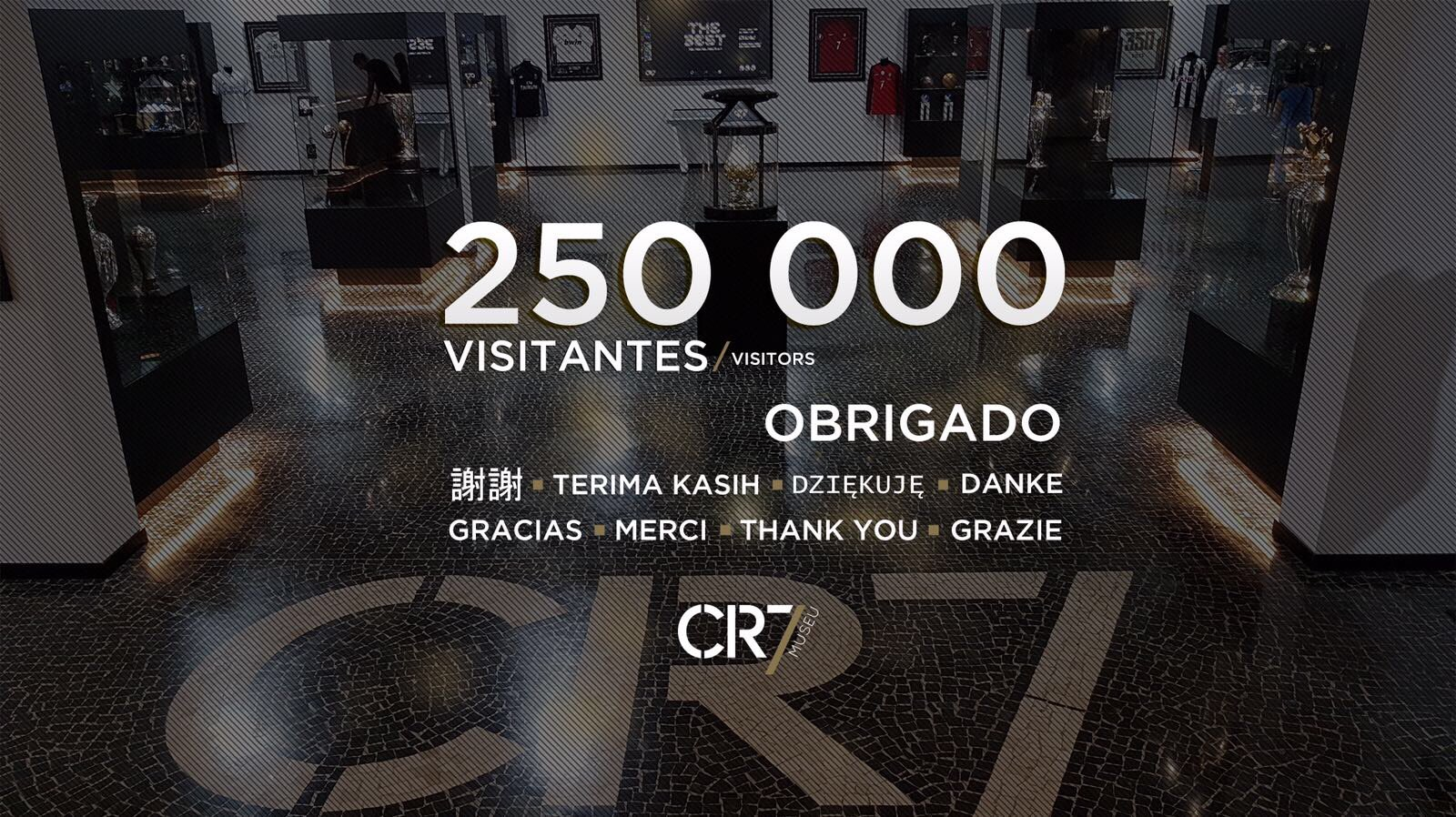 We already had 250 000 visitors in my @CR7Museu !! Thank you all!���� https://t.co/8Q2pLAAQhs