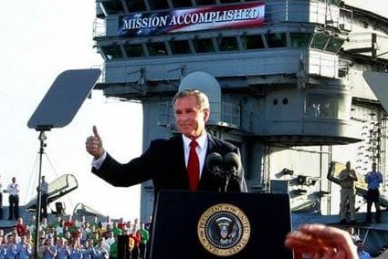 Hey, I found a better photo of the president holding a victory rally before the job was actually done. https://t.co/pnaooKUMwp
