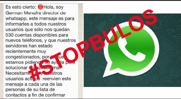 🔴¡RELAAAX! ¡Que no cunda el pánico!  #WhatsApp solo tiene 530 cuentas disponibles 😱😱😱😱  ES UN #BULO https://t.co/3VHeHduz8I