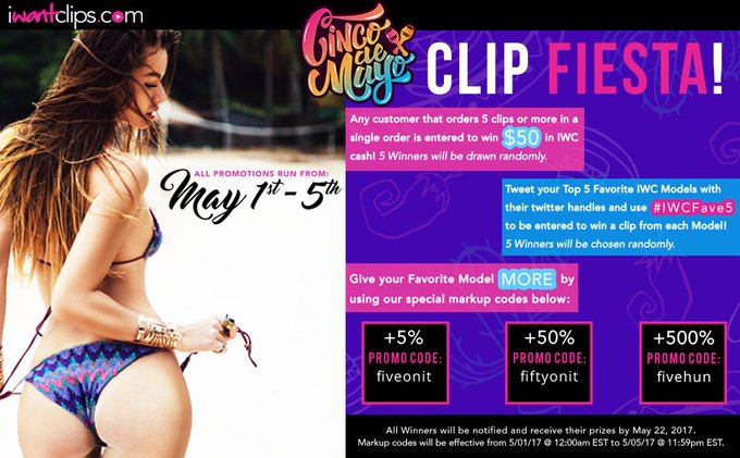 "It's not too late! Use the ""fivehun"" promo code to give your fave model 500% more. ;) #CincodeMayo #ClipFiesta"