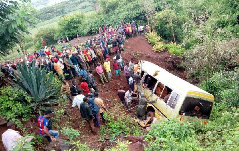 At least 32 schoolchildren killed along with two teachers and driver as school bus plunges down a ravine in Tanzania