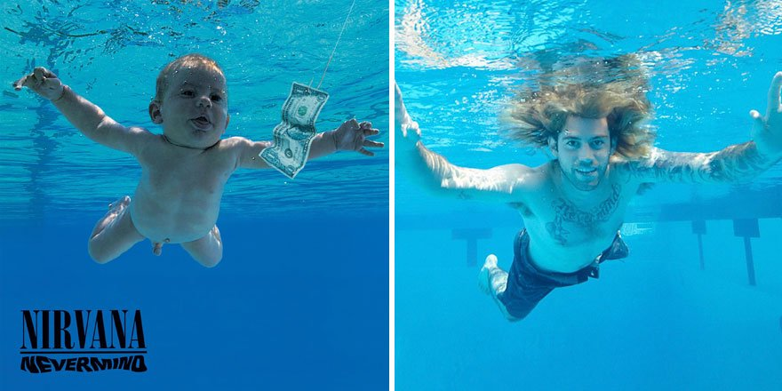 Spencer Elden's homage to Nirvana's Nevermind recreating the pose that made him famous. https://t.co/zGlZXjruio