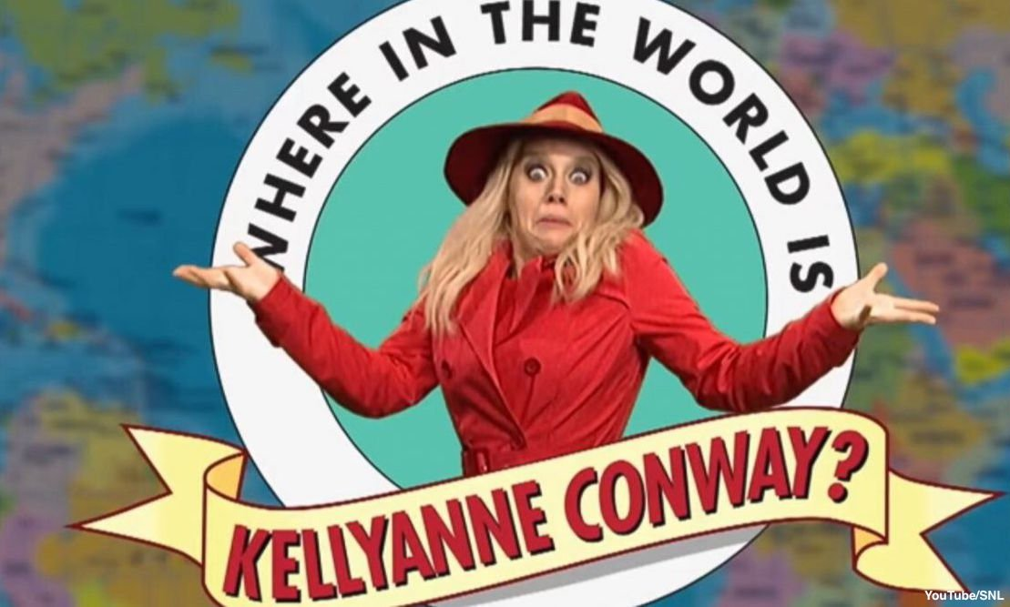 """Saturday Night Live sketch asks: """"Where in the World is Kellyanne Conway?"""""""