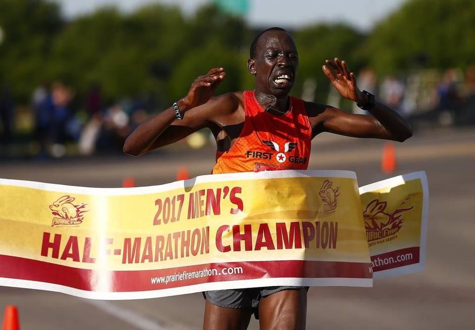 Peter Chebii repeats as Prairie Fire men's half-marathon champion
