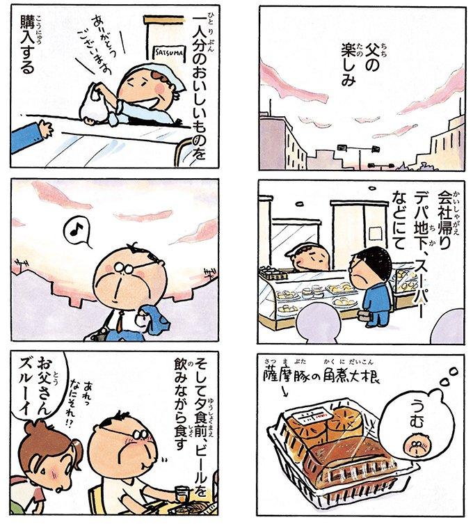 父の楽しみ「買い食い」#夕焼け #あたしンち (12巻no.20)