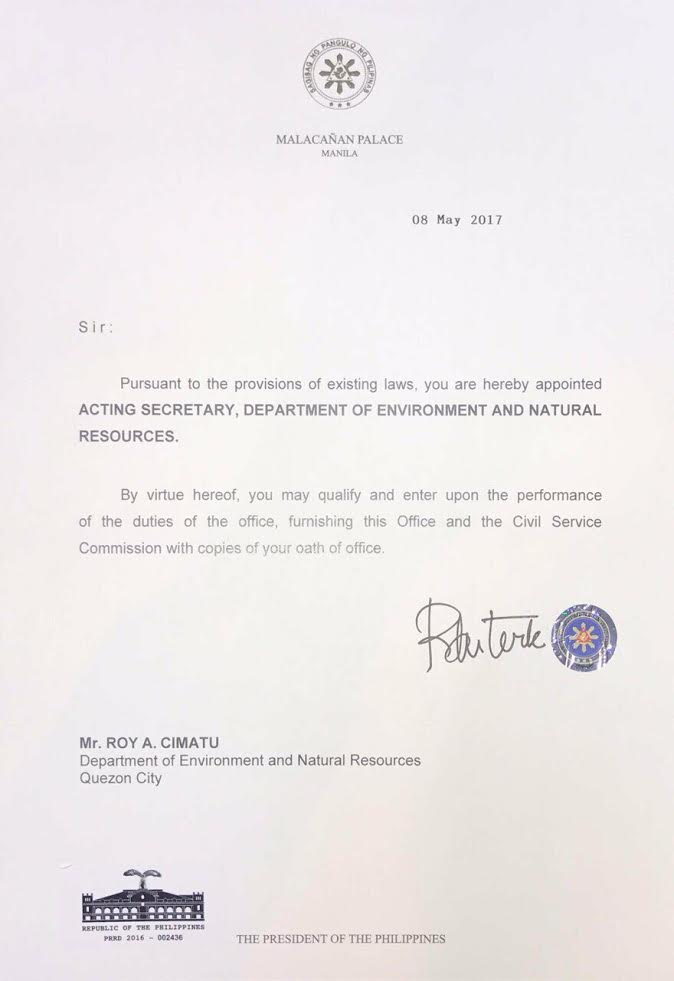 Read appointment letter of denr acting secretary mr roy a cimatu read appointment letter of denr acting secretary mr roy a cimatu altavistaventures Gallery
