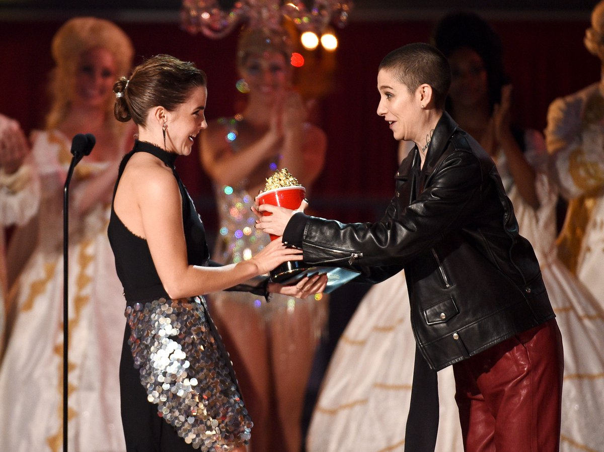 """Beauty and the Beast"" star Emma Watson makes history at Sunday's MTVAwards. (Getty Images)"