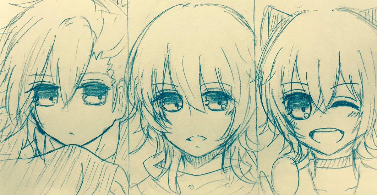 蒼井翔太さんで描きました。左から美風藍(うたプリ)水無月涙(ツキウタ。)レンレン(初恋モンスター)#リプもらった声優の好