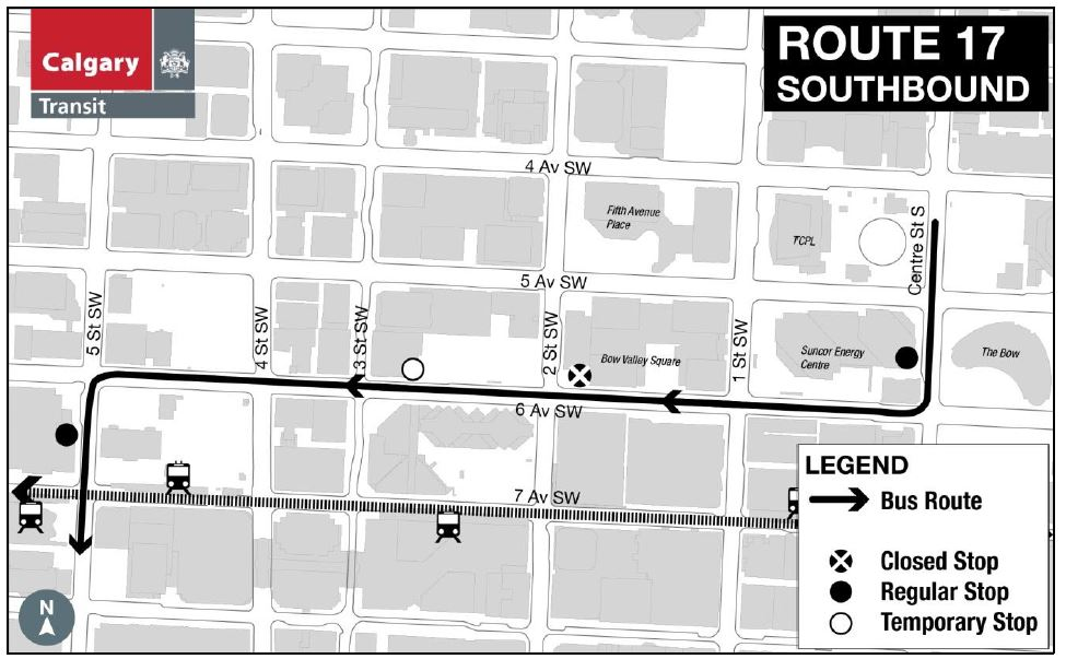 #CTRiders Starting May 8 for approx 1 month there is a sidewalk closure at 6 Av between 1/2 St SW. #Route17 stop 5118 temporarily closed. https://t.co/t6VKPwHevZ