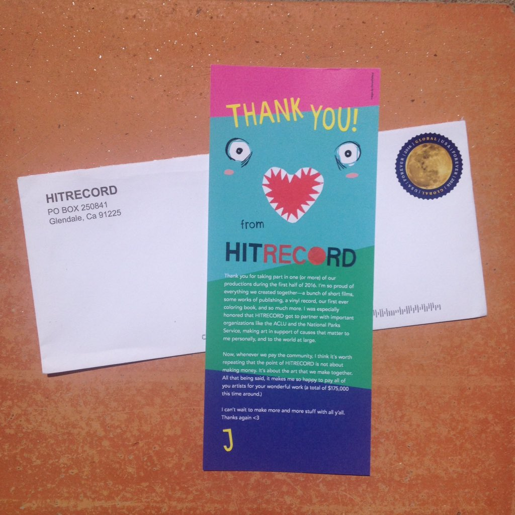 RT @ConstancaNobre: Thank you @hitRECord @hitRECordJoe ???? LOVE being part of this community ❤️ https://t.co/Y43MwC2Aty