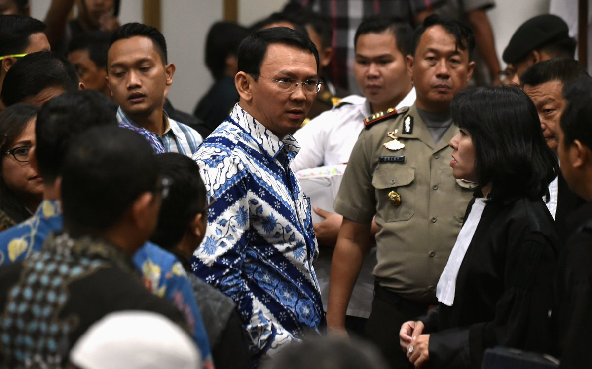 Jakarta's Christian governor Ahok sentenced to two years in jail for blasphemy