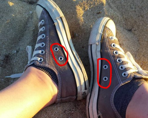 Those little holes in Converse All Stars? Laces could be looped through the extra holes for a snugger fit. https://t.co/XC7nA3cwll