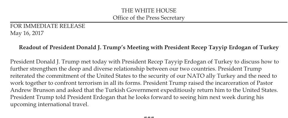 Readout of President Donald J. Trump's Meeting with President Recep Tayyip Erdogan of Turkey https://t.co/DPyKFlSxQs